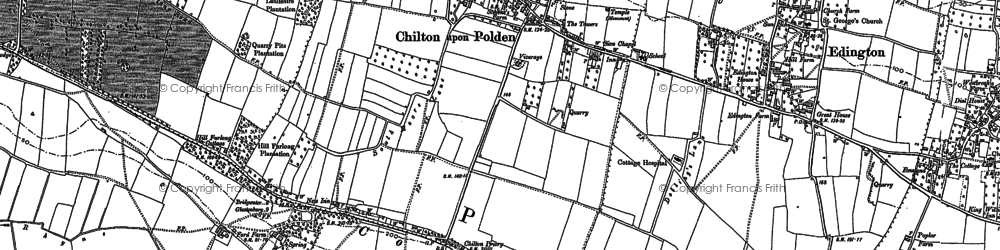 Old map of Chilton Polden in 1885