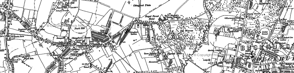 Old map of Chingford in 1894