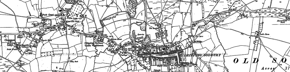 Old map of Chipping Sodbury in 1881