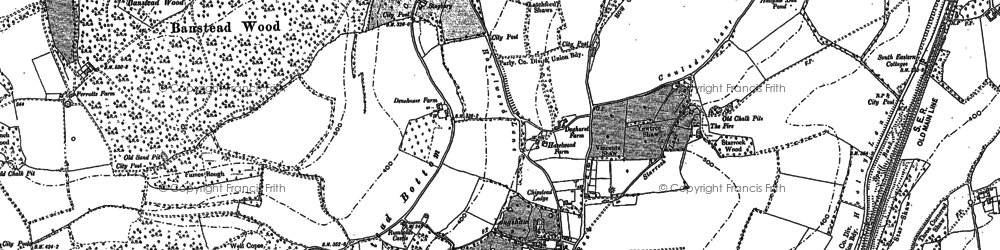 Old map of Banstead Wood in 1895