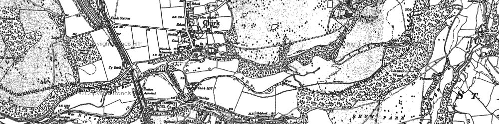Old map of Chirk in 1909