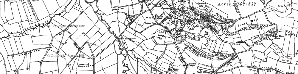 Old map of Balham Hill in 1886