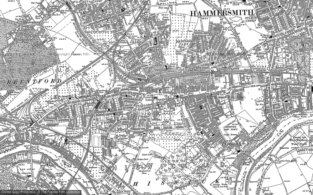 Old Map of Historic Map covering Acton Green in 1893