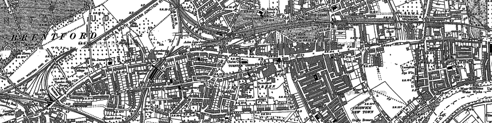 Old map of Chiswick in 1893