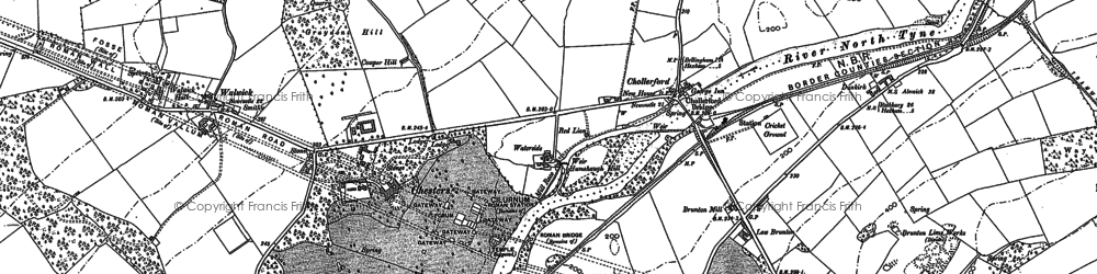 Old map of Chollerford in 1895