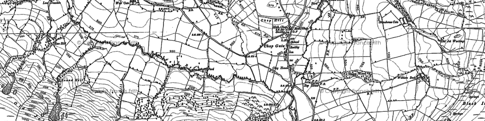 Old map of Barker's Crags in 1890