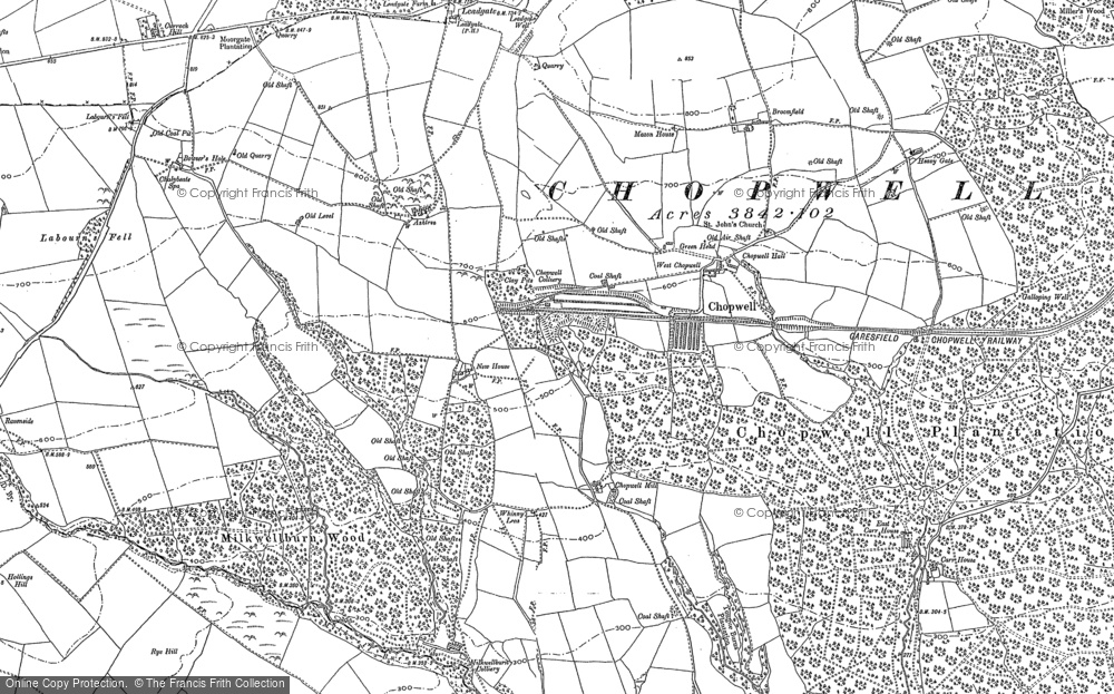 Old Map of Historic Map covering Ashtree in 1915