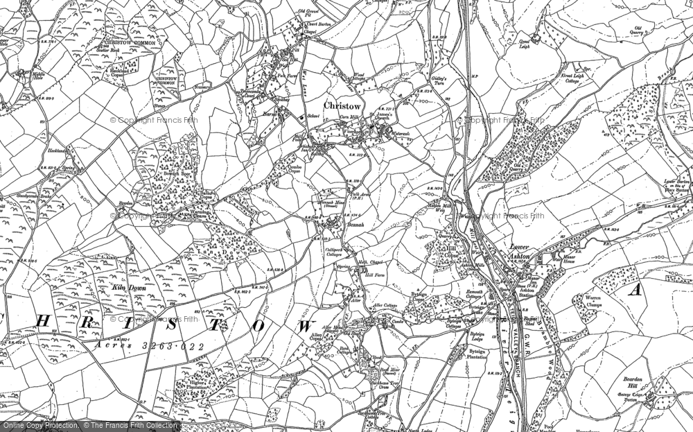 Old Map of Christow, 1887 in 1887