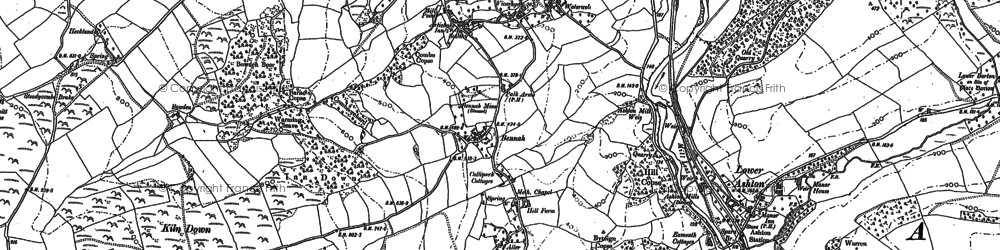 Old map of Christow in 1887