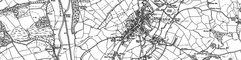 Old map of Chudleigh in 1887
