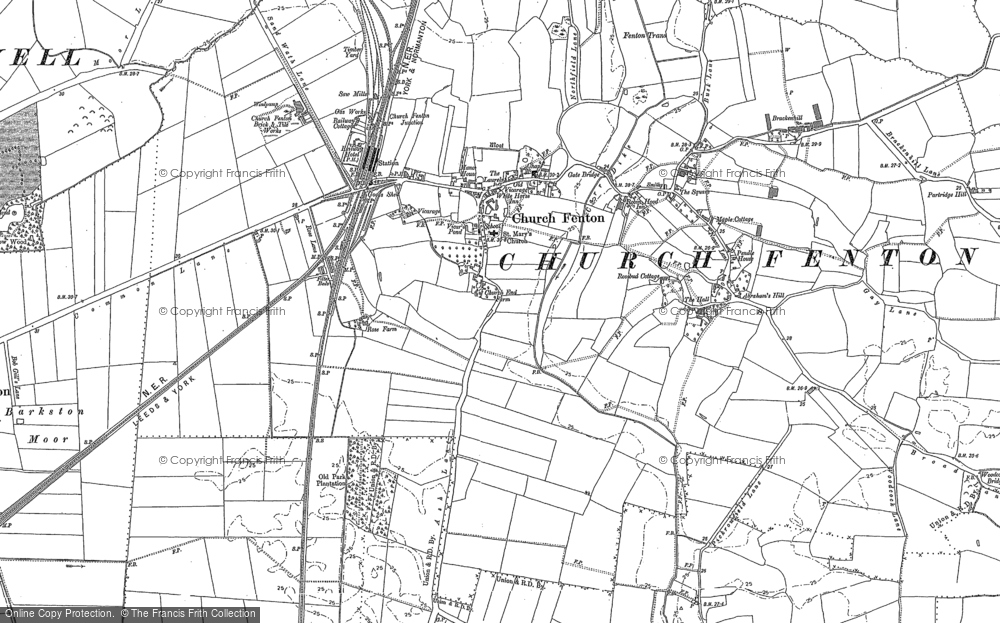 Old Map of Church Fenton, 1889 - 1890 in 1889