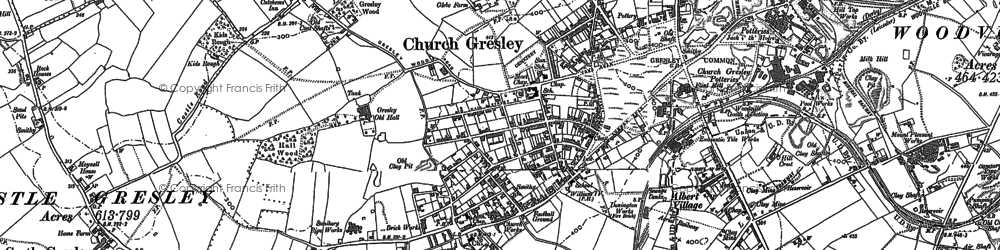 Old map of Church Gresley in 1900
