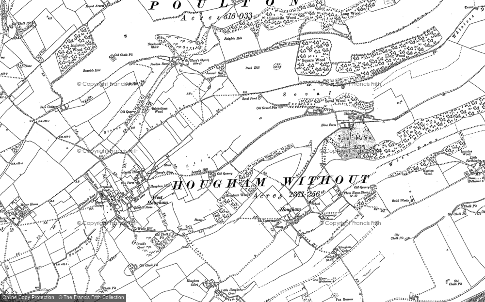 Old Map of Historic Map covering Abbot's Cliff in 1896