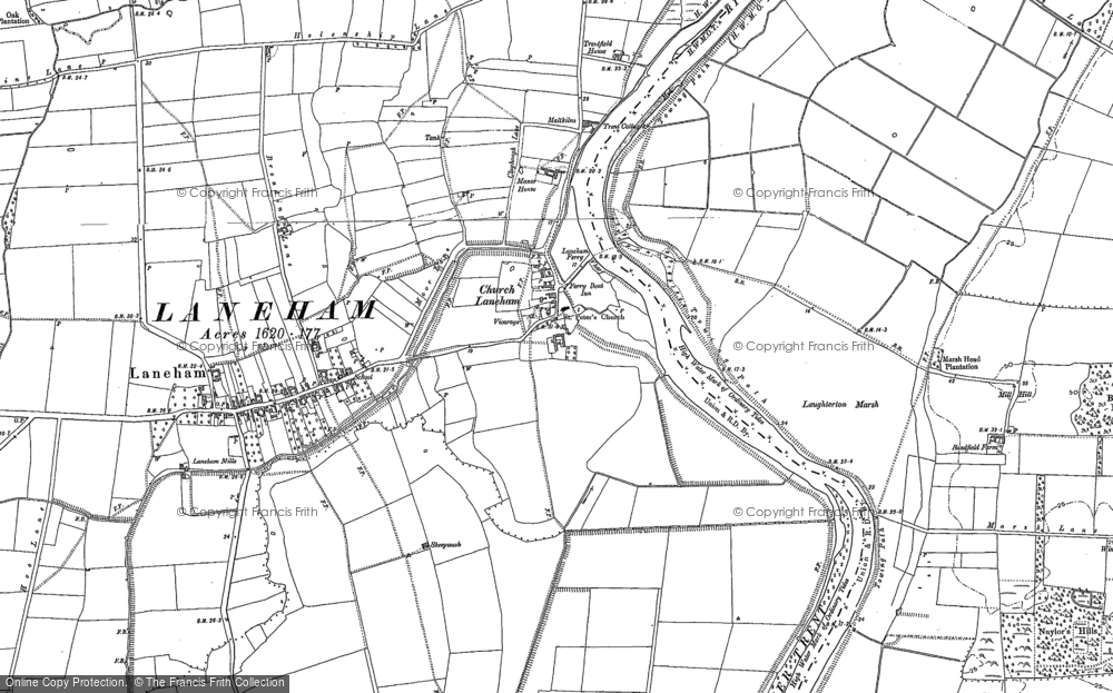 Old Map of Historic Map covering Laughterton Marsh in 1884