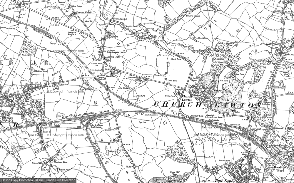 Old Map of Historic Map covering Lawton Hall in 1908