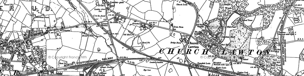 Old map of Church Lawton in 1908
