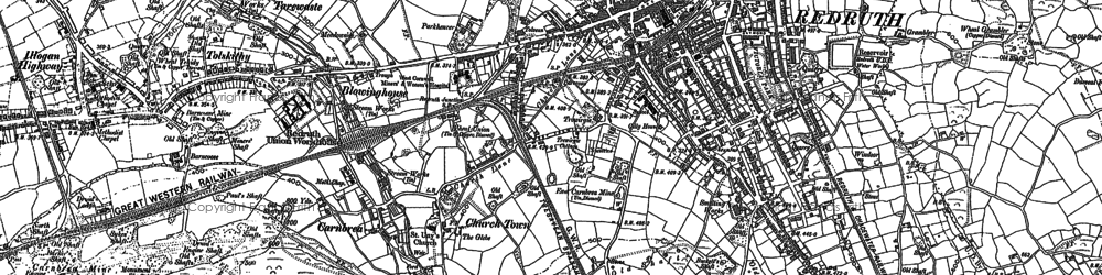Old map of Church Town in 1878