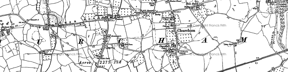 Old map of Churcham in 1882