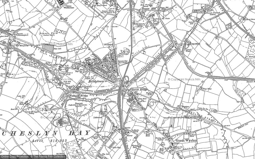 Old Map of Churchbridge, 1883 in 1883