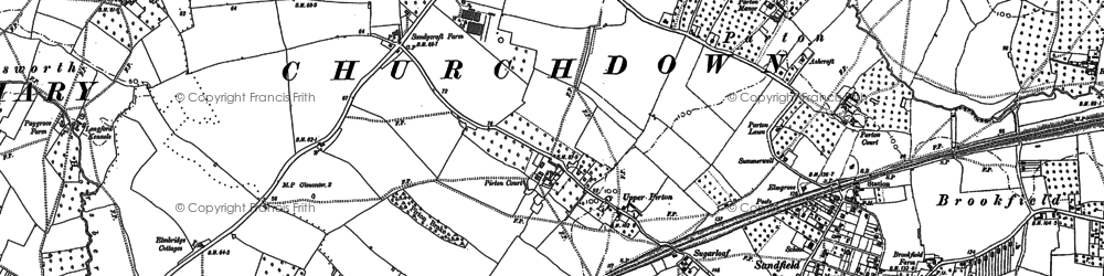 Old map of Churchdown in 1883