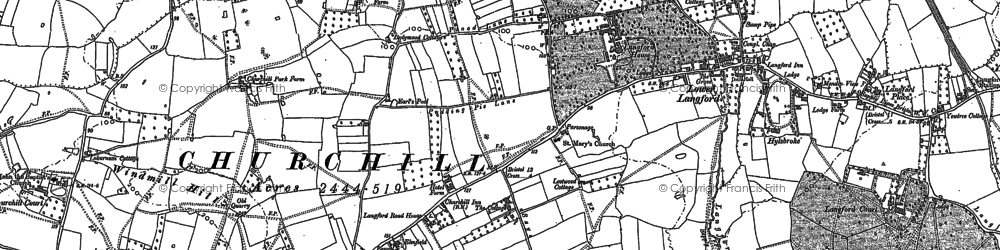 Old map of Churchill in 1883