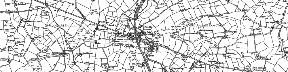 Old map of Chwilog in 1888