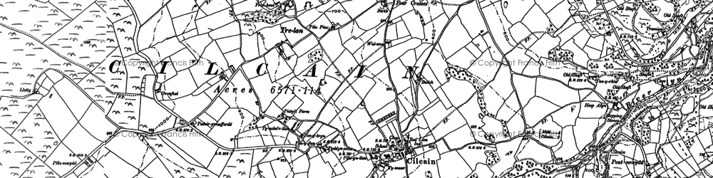 Old map of Cilcain in 1910