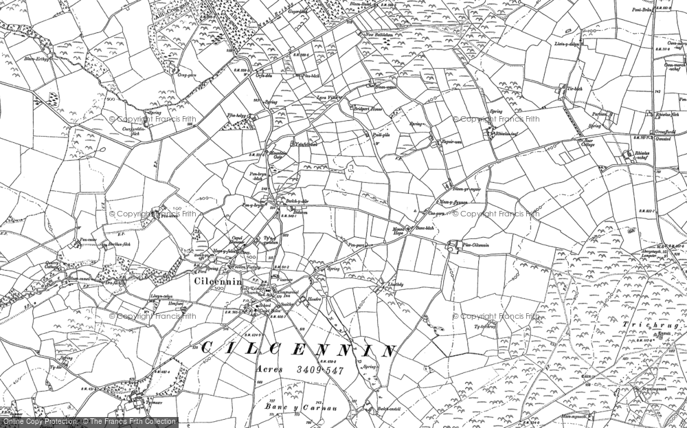 Old Map of Historic Map covering Allt y Fron in 1887