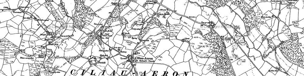 Old map of Ciliau Aeron in 1887