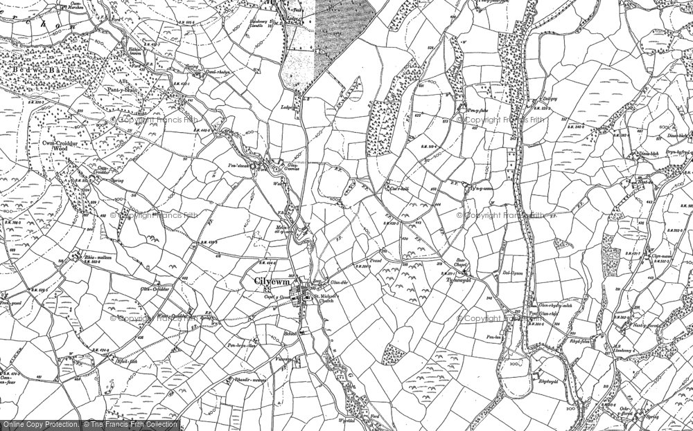 Old Map of Historic Map covering Afon Merchon in 1886