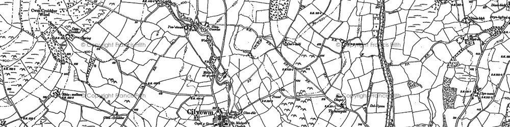 Old map of Afon Gwenlais in 1886