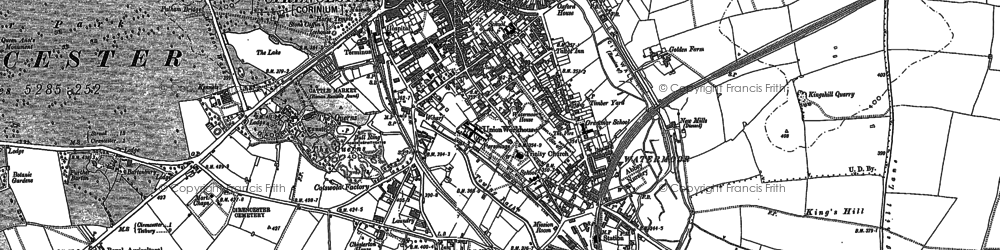 Old map of Cirencester in 1875