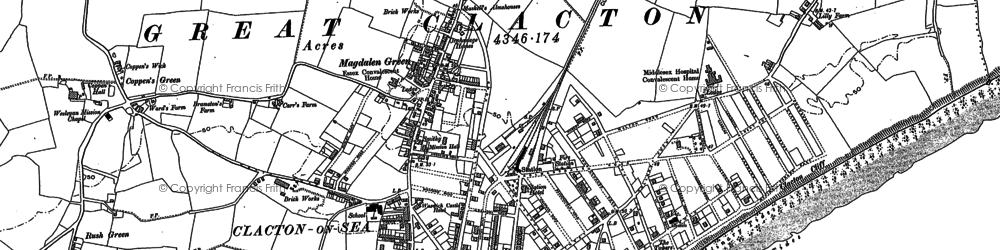 Old map of Clacton-On-Sea in 1896