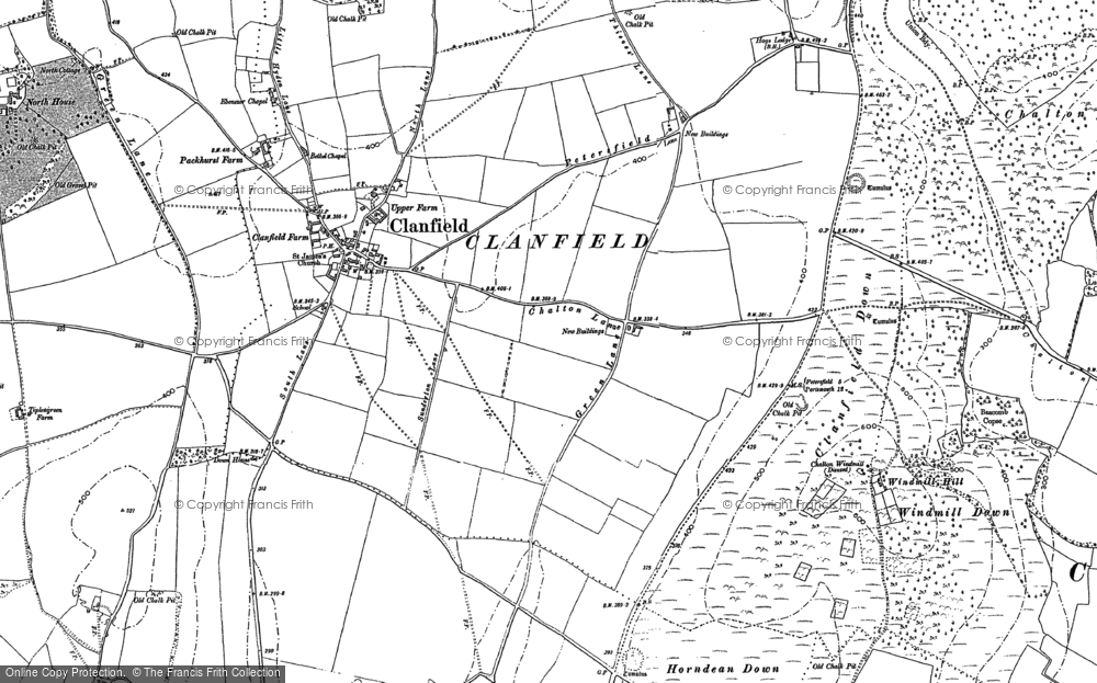 Old Map of Historic Map covering Windmill Hill in 1908