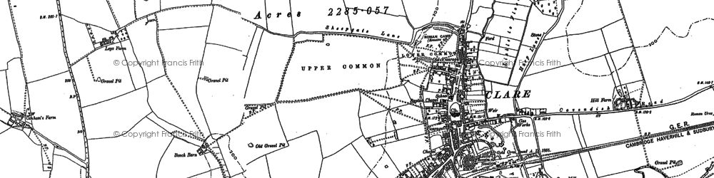Old map of Clare in 1902