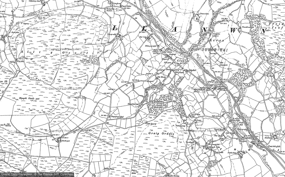 Old Map of Historic Map covering Allt y Genlli in 1885