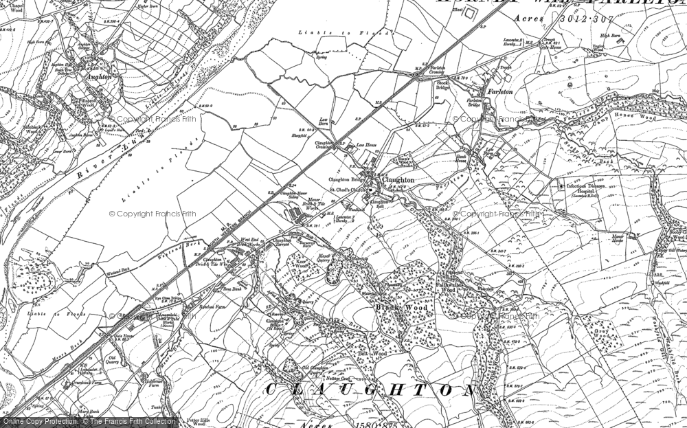 Old Map of Historic Map covering Aughton in 1910