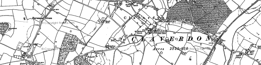 Old map of Barnmoor Green in 1886
