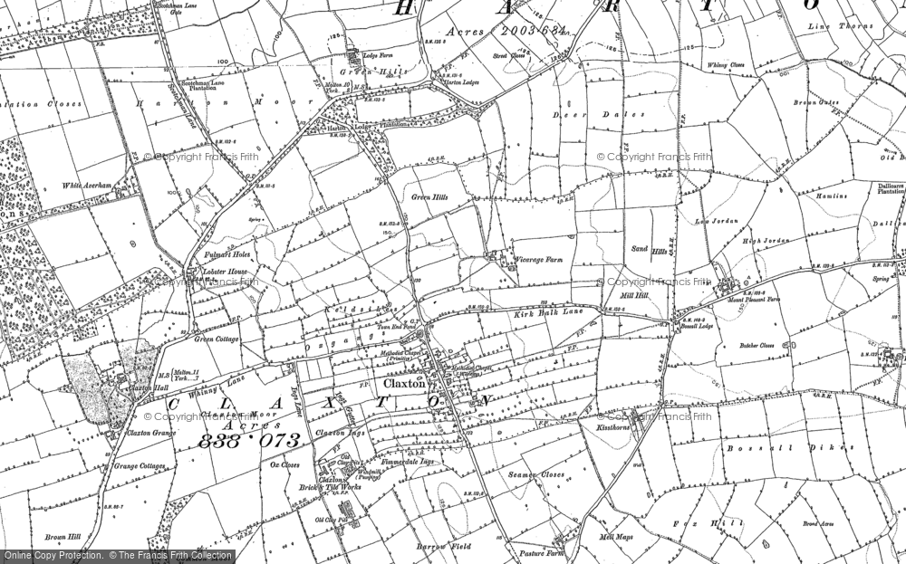 Old Map of Historic Map covering Aldby Field Ho in 1891