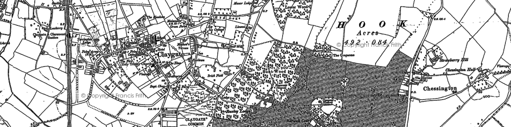 Old map of Claygate in 1895
