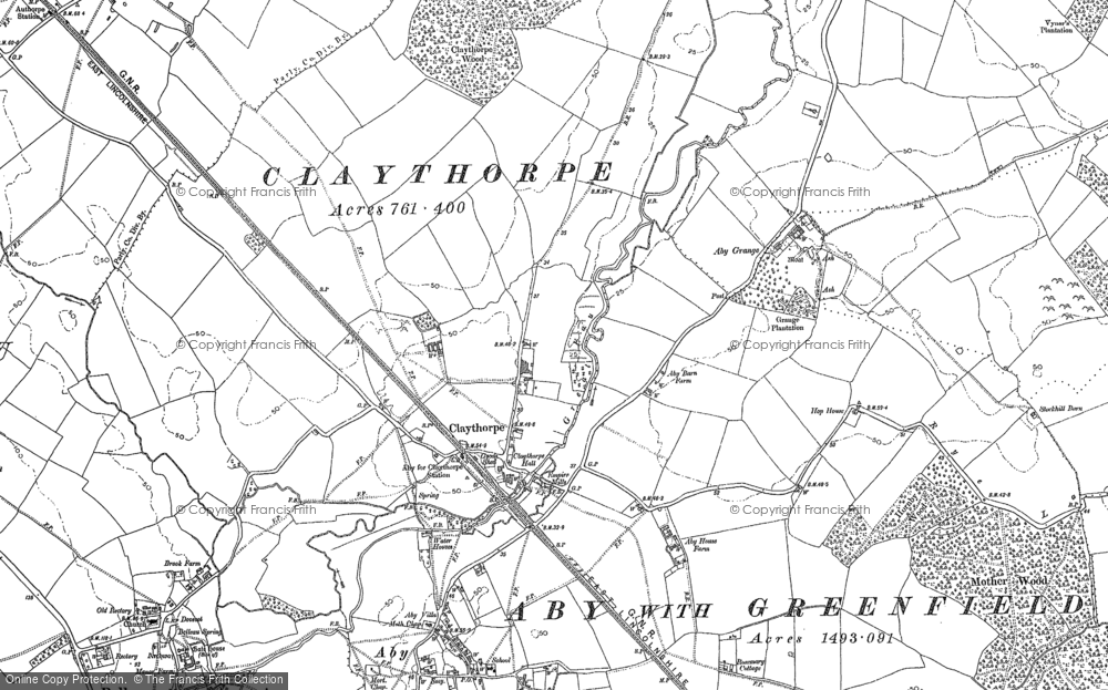 Old Map of Historic Map covering Aby Grange in 1887