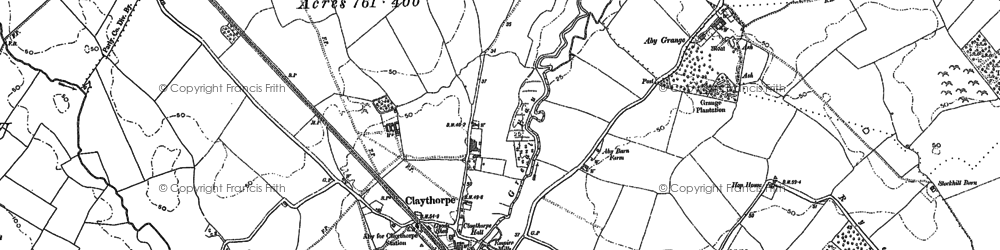 Old map of Aby Grange in 1887