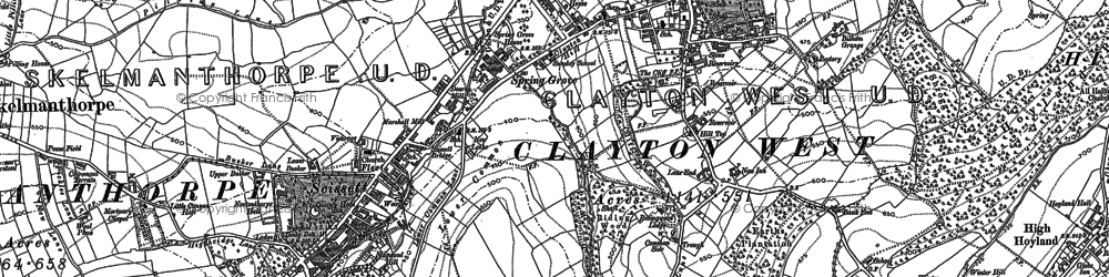 Old map of Clayton West in 1892