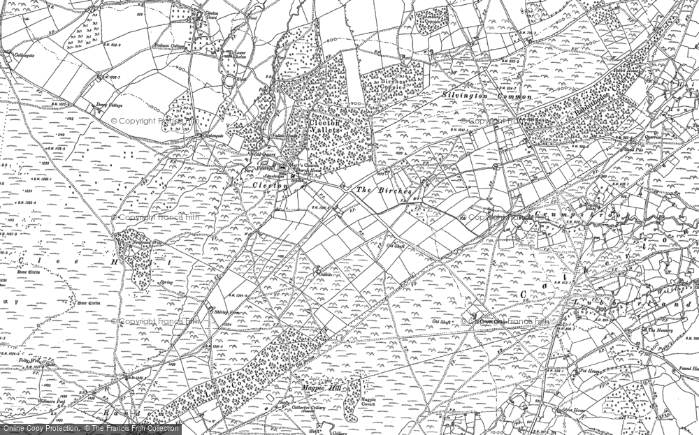 Old Map of Historic Map covering Titterstone Clee Hill in 1879
