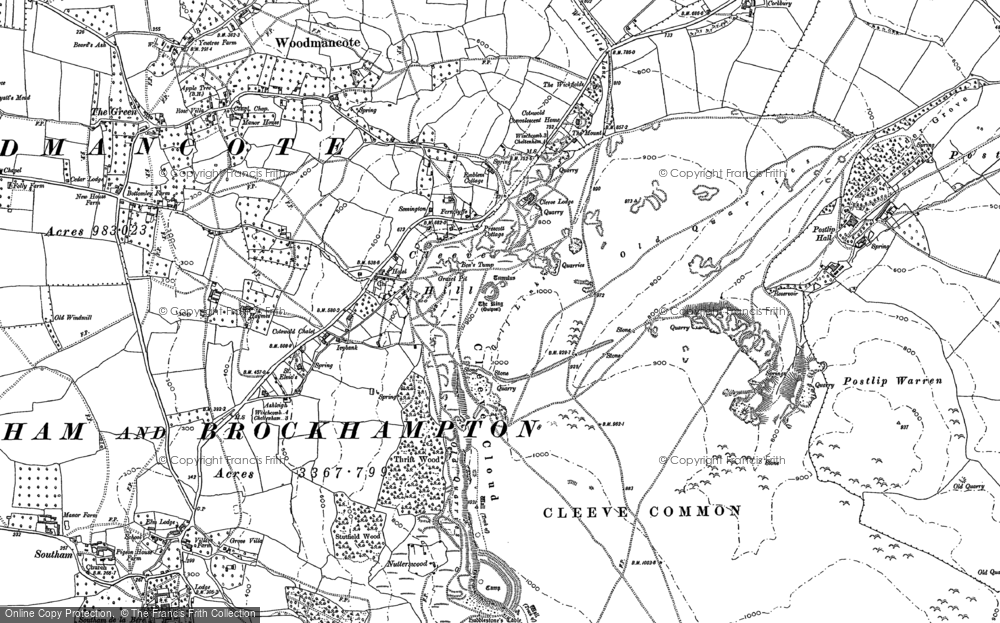 Old Map of Cleeve Hill, 1883 in 1883