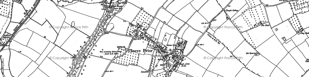 Old map of Cleeve Prior in 1883