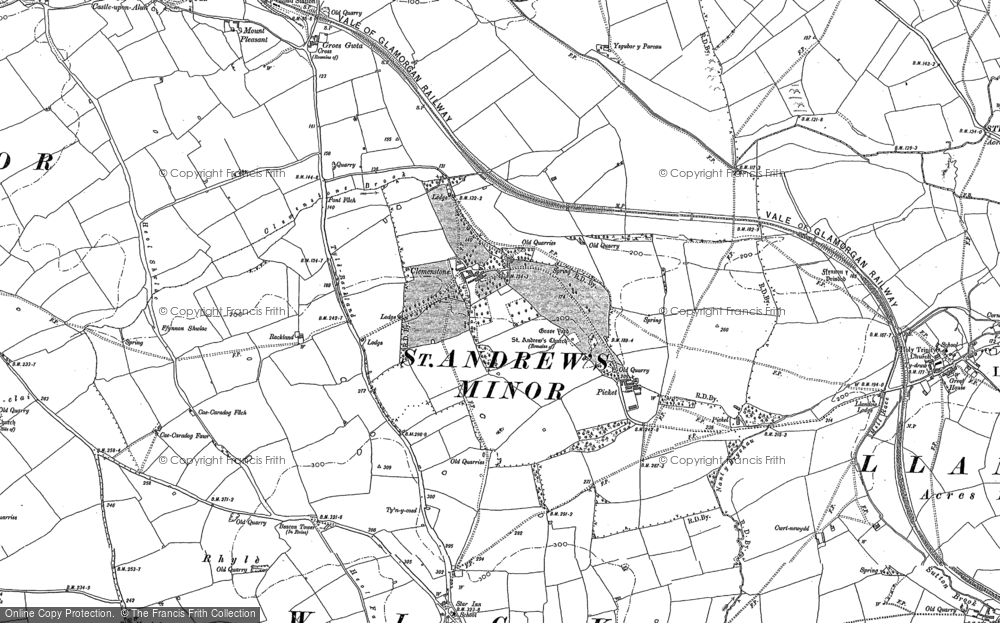 Old Map of Historic Map covering Afon Alun in 1897