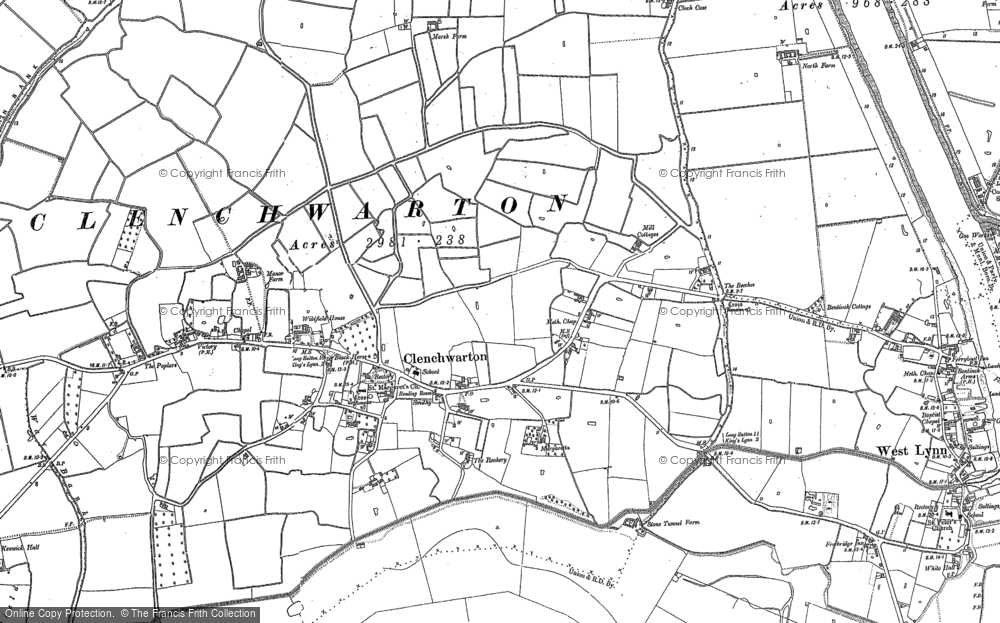 Old Map of Historic Map covering Banklands in 1884