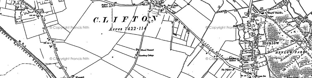 Old map of Clifton in 1882
