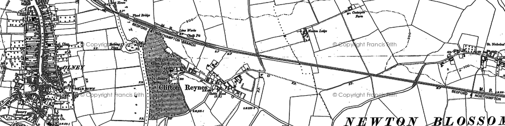 Old map of Clifton Reynes in 1899